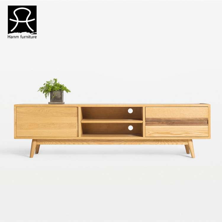 Hanm Design Oak Long Wood Tv Cabinet With Showcase Modern Tv Stand