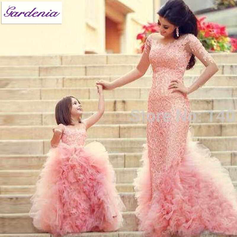 lovely mom and daughter matching outfits real photo baby pink flower girl dress ball gown. Black Bedroom Furniture Sets. Home Design Ideas