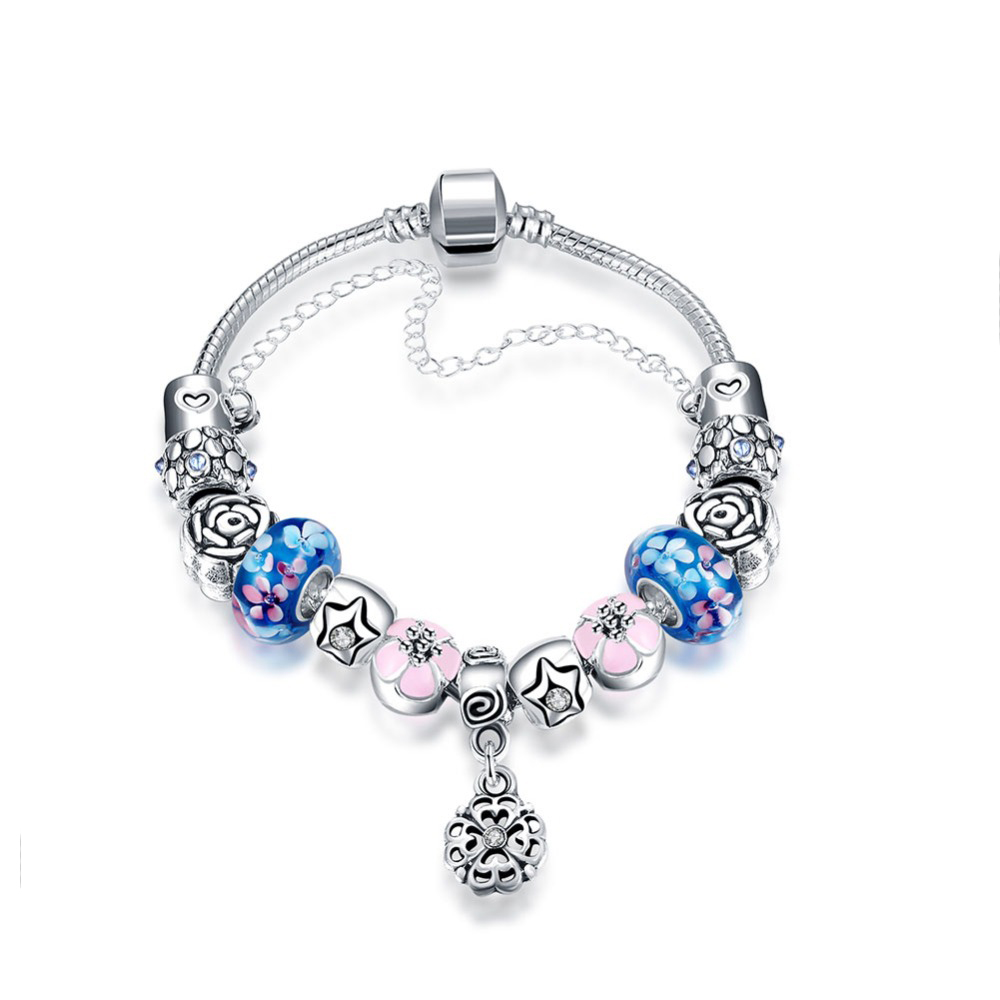Customized 925 Sterling Silver Plated Charms Beads Bracelet Murano Glass Charms Snake Chain Bracelet