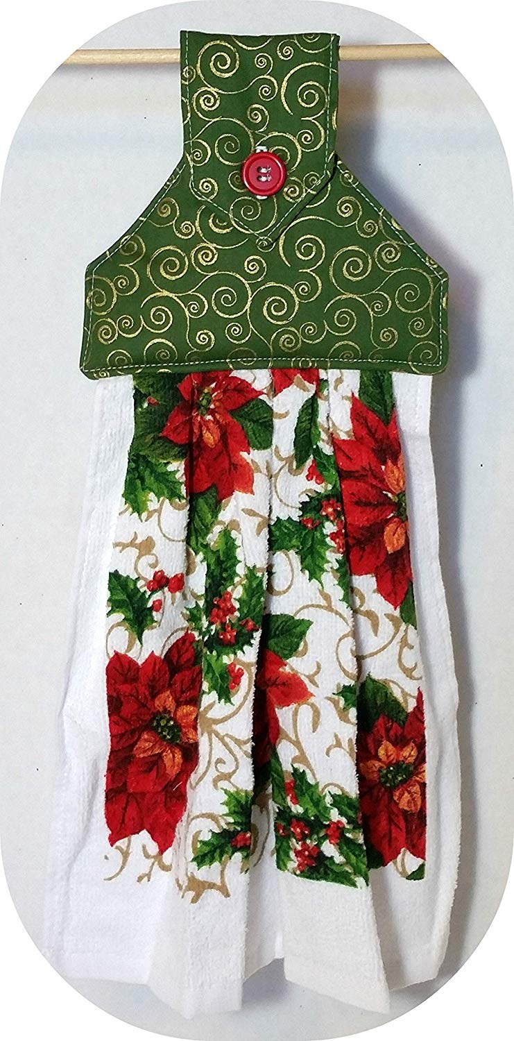 Hanging Kitchen Towel, Christmas Kitchen towel with Poinsettias and a green topper,Oven Door towel with Button Closure, 384