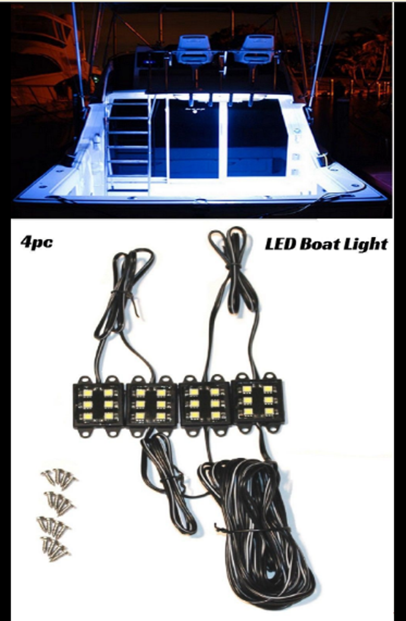 White LED Boat Lights Kit Waterproof Pod Bright LED Strips Marine Jetski 8pc