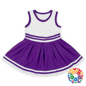 Purple And White Color Baby Dress Girls Cotton Frock Designs Baby Girls Casual Dresses Sleeveless Summer Girl Dress 2-6 Years