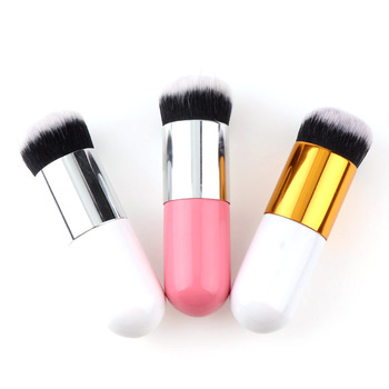 Cute Chubby Pier Portable Round Makeup Flat Top Foundation Blush Cosmetic Brush