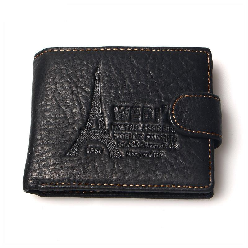 2015 New Fashion Vintage Purse Men Wallets Brand Leather Iron Tower Retro Wallet Genuine Leather For Men Clutch Coin Purses
