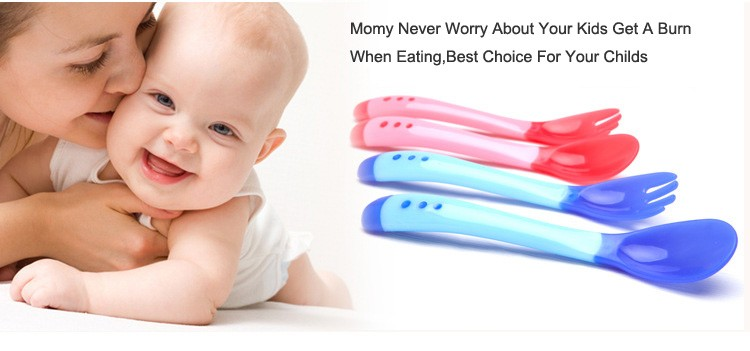 Colorful Flexible Temperature Silicone Spoon For Baby, color change Spoon