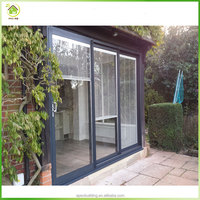 Aluminum sliding glass patio doors with blinds