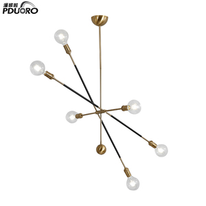 Nordic minimalist chandelier personalized creative glass iron restaurant LED geometric lines chandeliers LD80915-1
