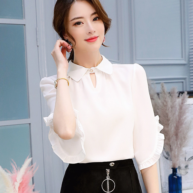 Women's Clothing 2018 Summer New Women Ruffled Sexy Long-sleeved Lace Chiffon Shirt Packing Of Nominated Brand