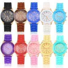 1 pcs fashion Unisex Geneva Silicone Jelly Gel Quartz Analog Sports Wrist Watch 2014 new