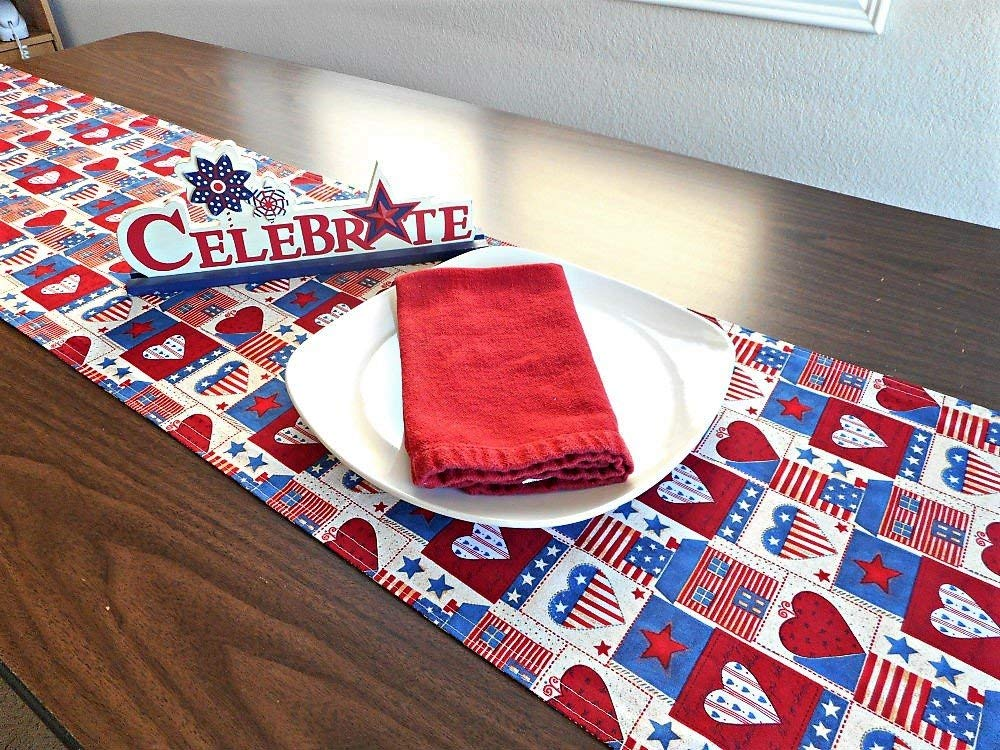 awesome Primitive Hearts And Stars Part - 7: Get Quotations · Patriotic Table Runner Americana Primitive Rustic Red  White Blue Beige Hearts Stars Stripes Flags Reversible