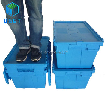 Strong Warehouse Logistic Delivery Storage Plastic Movable Moving Box Container with Attached-Lid