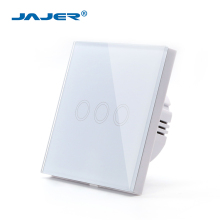 Jajer EU/UK standard mini wall touch switch crystal glass panel smart switch 3 gang 1 way white