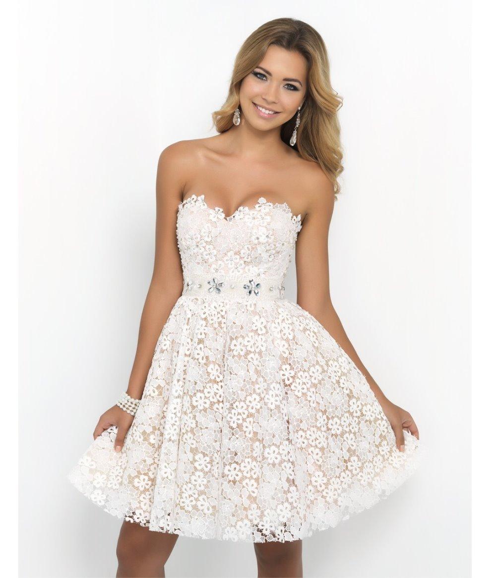2015 Lace Bridesmaid Dresses Blush Short Prom Dresses