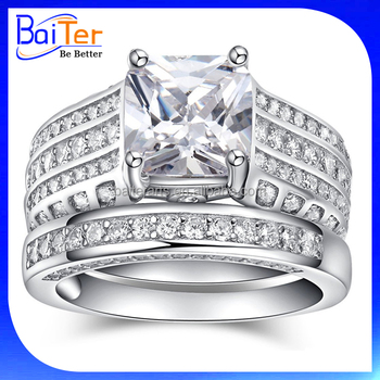 Whole Rhodium Plated 925 Sterling Silver Wedding Rings Set For Women