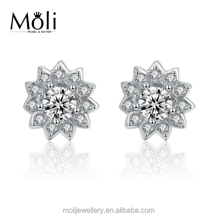 Classic Design Fine Gemstone 925 Sterling Silver Earrings Stud Fashion Jewellery for European Style