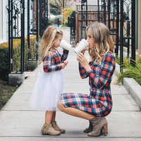 Wholesale Mommy Me Family Matching Clothes Long Sleeve Plaid Dress
