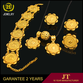 Fashion dubai gold plated jewelry set 18k gold plated gold necklace