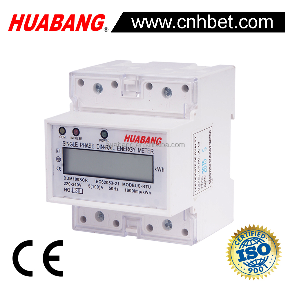 single phase DIN Rail MODBUS electricity power kwh meter