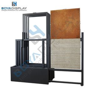 Latest push pull type sliding and rotating display stand flooring panels tile stone rack