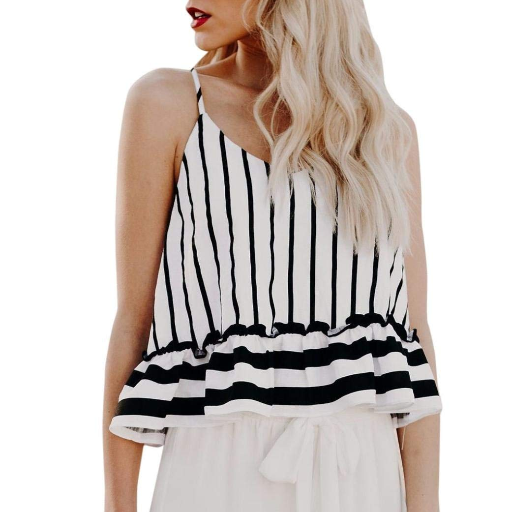 d9bf947d2a8 Get Quotations · BCDshop 2018 Fashion!Women Sleeveless Striped Shirts  Ruffle V-Neck Sexy Tank Tops Blouse