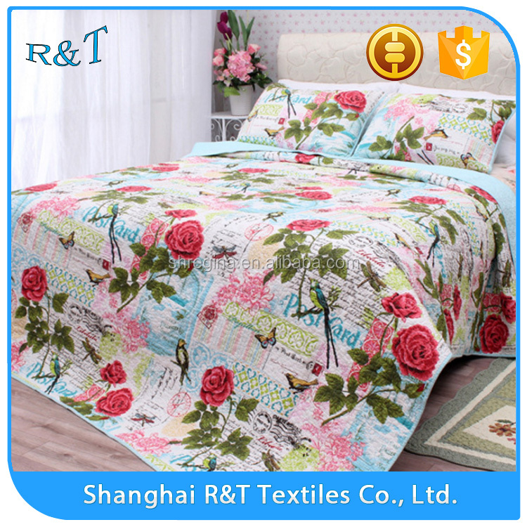 Brand new style pretty flowersbedding set washable cotton quilt