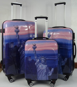 Hot Sale Abs Printed Hard Shell Luggage With 4 Double Wheel New ...