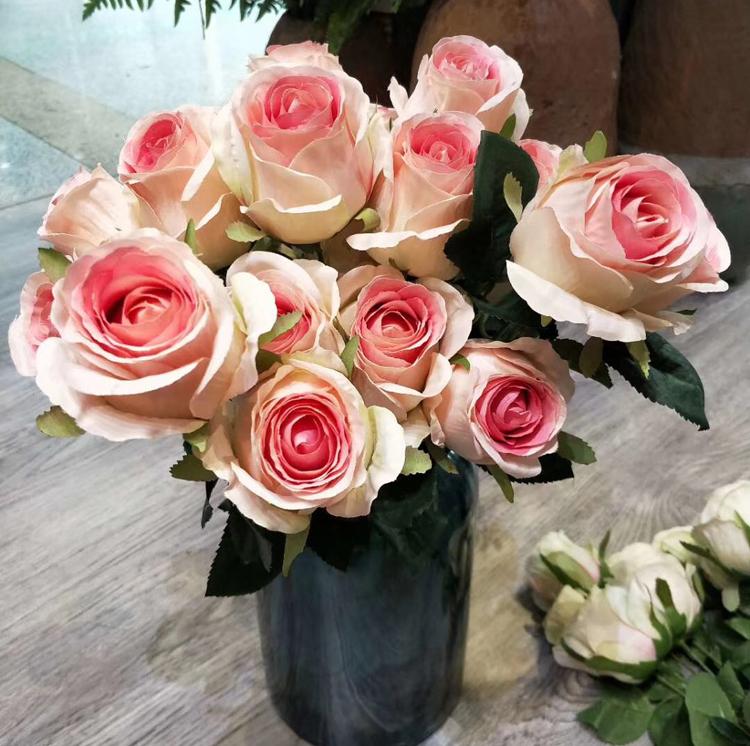 Artificial Flower 7 Heads Rose Bush Bouquet Direct Decor High
