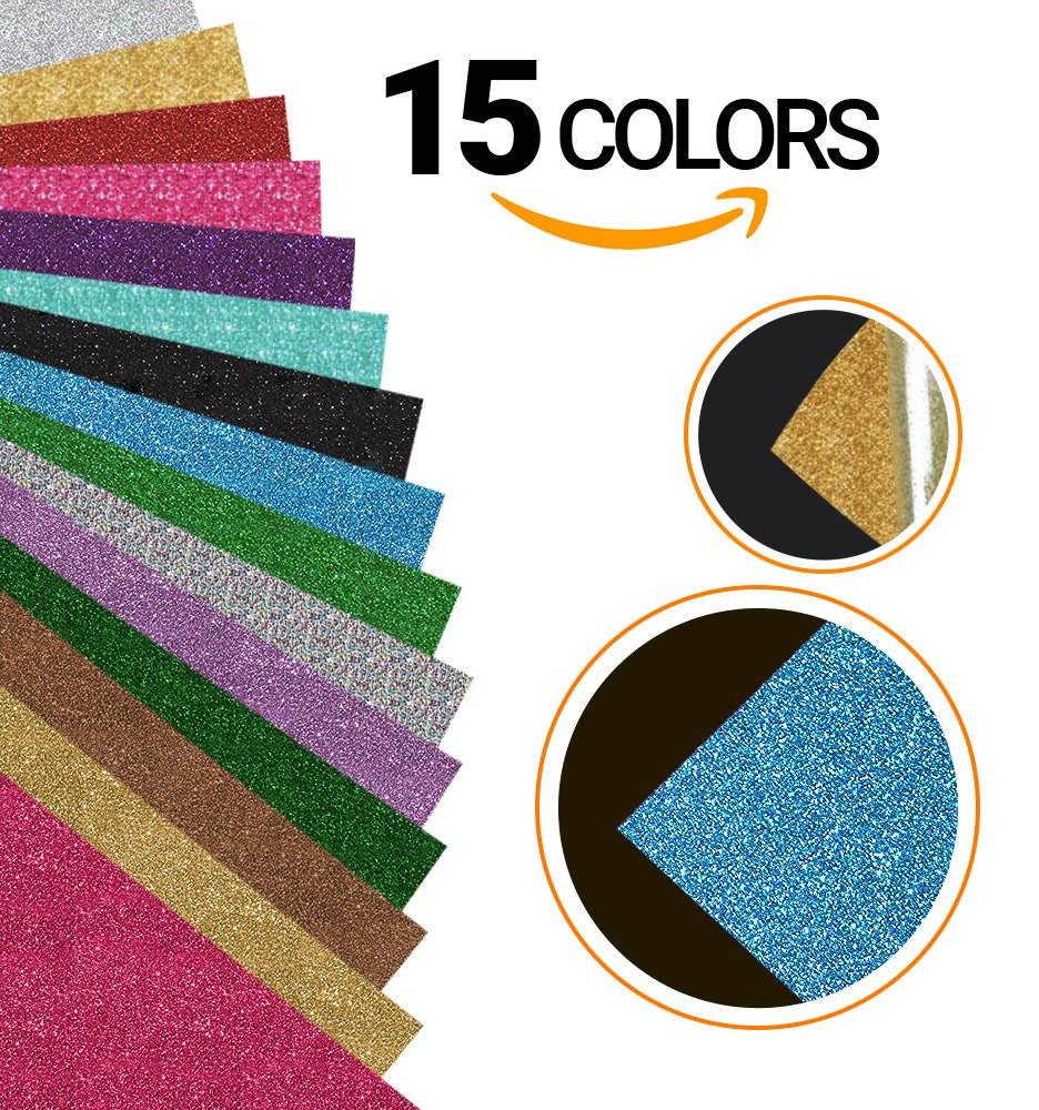 Glitter Heat Transfer Vinyl Bundle Sheets | 15 Colors | 12 x 9.8 inches | Suitable for Iron-on, Silhouette Cameo, Heat Press, Cricut Machines, T Shirts | Durable and Long Lasting Adhesive