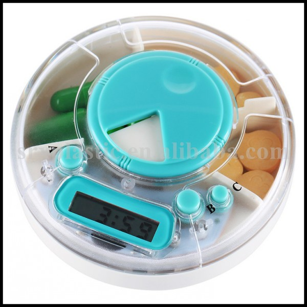 OEM food grade plastic Pill Holder with Alarm reminder/plastic Medicine Case LED Timer Reminder Pill wholesale/plastic pill box