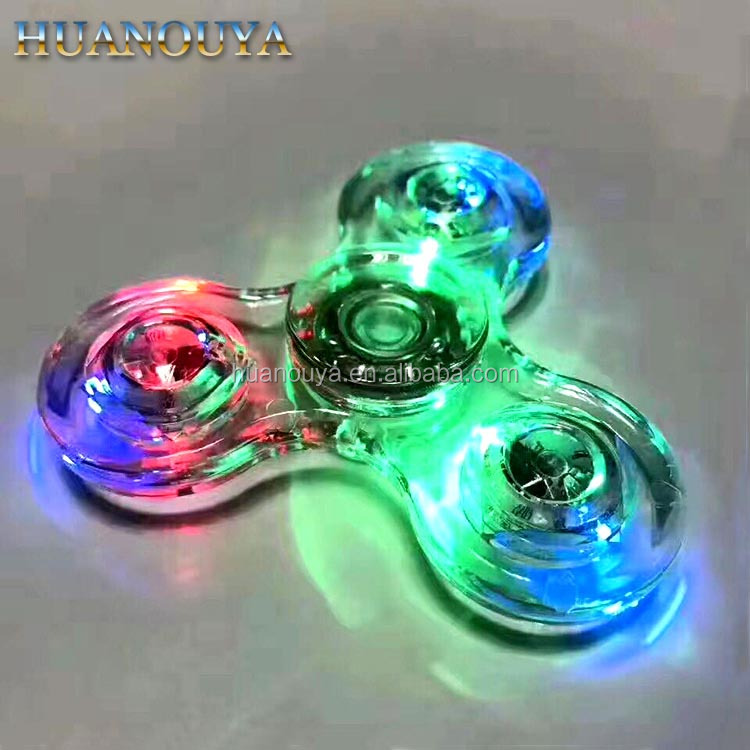 Factory LED crystal transparent light up fidget spinner with high speed