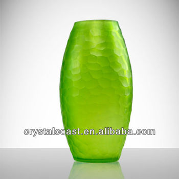 Contemporary Tall Colored Oval Shaped Emrald Jade Green Ut Frosed