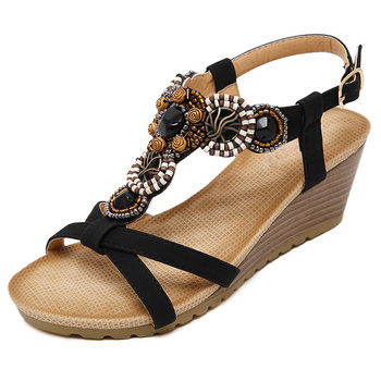 eb7df93d35e 2017 New Arrival Summer Bohemian Wedge Sandals Women Shoes Platform  Rhinestone Beaded Gladiator Flip Flops