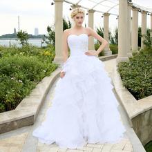 2016 vestidos de noiva A-line Ivory Or White Ruffles Beading Sweetheart Organza Wedding Dress Bridal Gowns wedding dresses