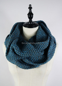 2017 circular shape knitted 2 color mixed cashmere snood scarf