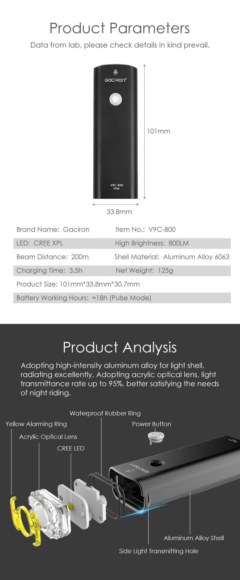 Gaciron ROHS CE V9C 800 Lumen Nhấp Nháy USB Sạc Điều Khiển Từ Xa MTB Xe Đạp Ánh Sáng Led Phía Trước Xe Đạp Ánh Sáng