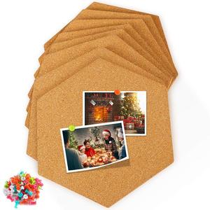 Mini Wall Bulletin Boards Cork Board Tiles 8 Pack with Full Sticky Back Pin Board-Decoration for Pictures,Photos,Notes,Goals