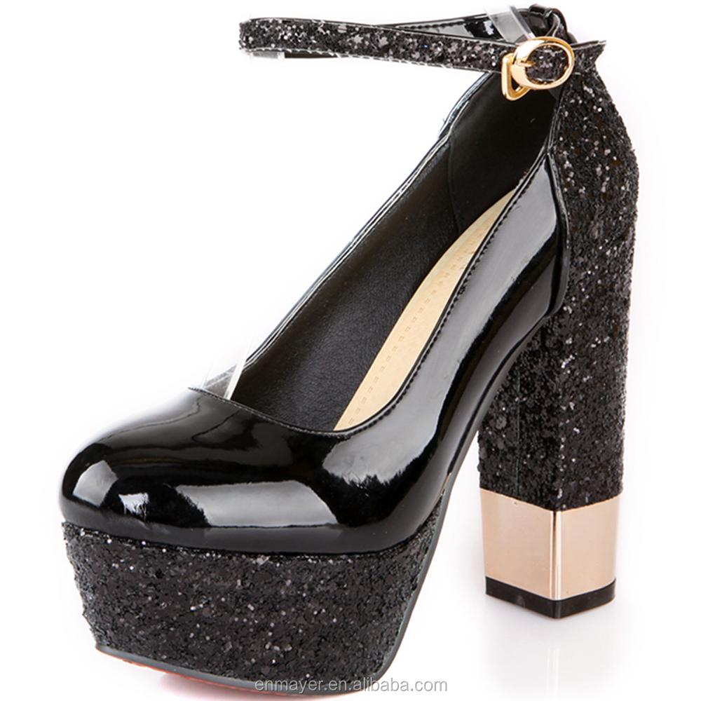 Alibaba Grosir Emas Wanita Platform 13 Cm Sepatu Hak Tinggi Yang Elegan Persegi Tumit Tali Pergelangan
