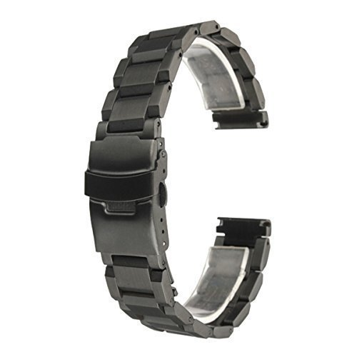 BABAN 20mm Stainless Steel Watch Band Strap Double Button Fold Clasp Buckle Lock Flip Black