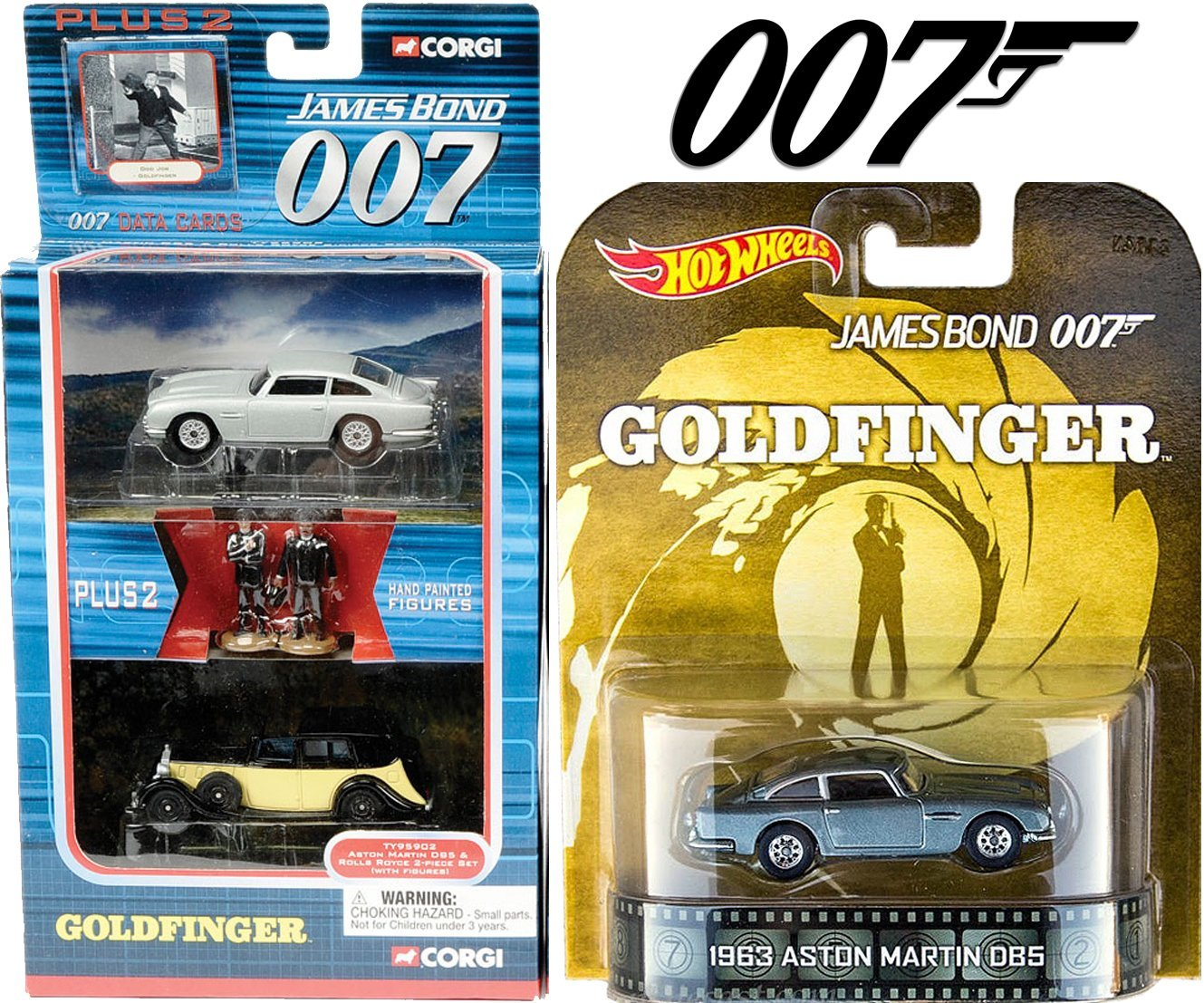 Aston Martin Hot Wheels Retro Entertainment Goldfinger & 007 James Bond Corgi Car Set
