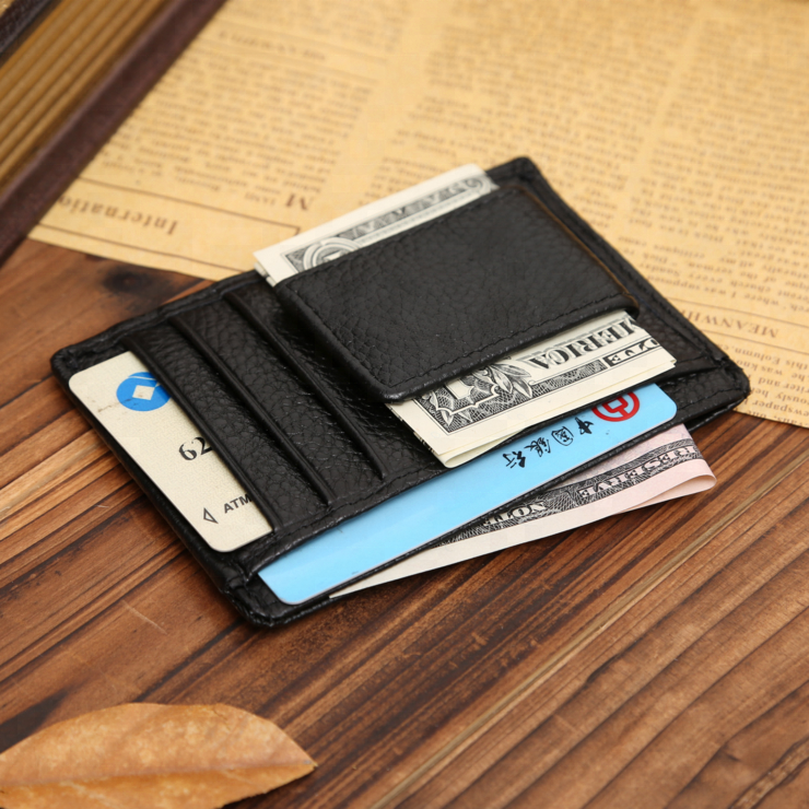 Wholesale logo custom magnetic pu leather money clip