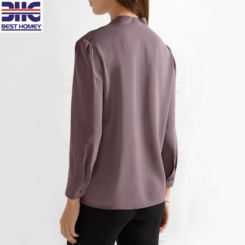 6d65b63d1dc7b Woman 100% silk pussy-bow crepe de chine long sleeve V neck design silk