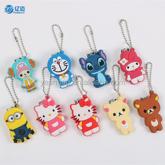 2019 hot selling new kids baby manicure key chain cute cartoon animals keyring nail cutter clippers scissors keychain