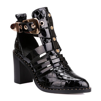 61efdd65477 Patent Leather Shoes Pointed Toe With Buckle Belt Cut Out Block Heel Black  Booties Women Ankle Boots - Buy Women Boots,Women Leather Boots,Women ...