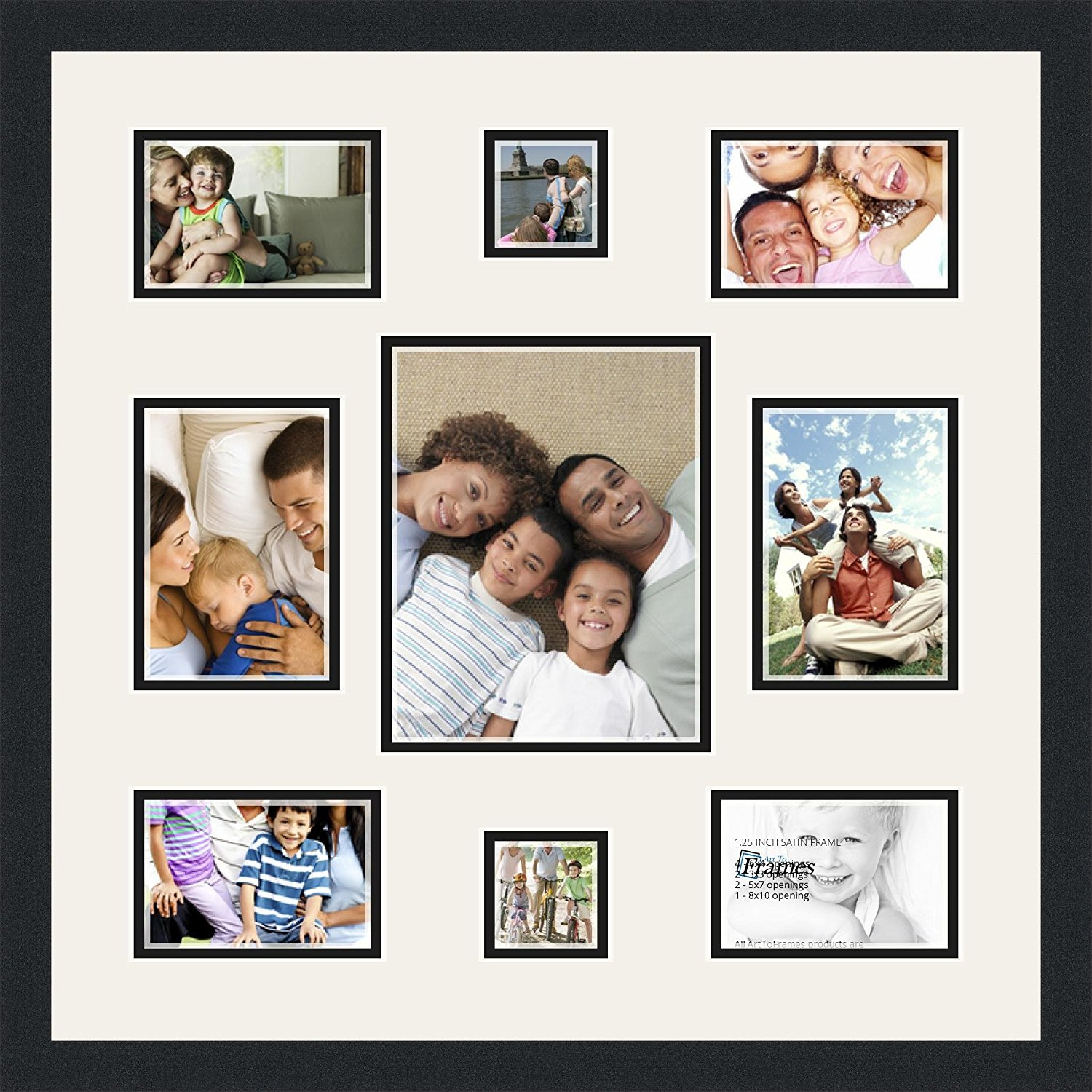 Art to Frames Double-Multimat-409-61/89-FRBW26079 Collage Photo Frame Double Mat with 1 - 8x10 and 2 - 5x7, 3x3 and 4 - 4x6 Openings and Satin Black Frame