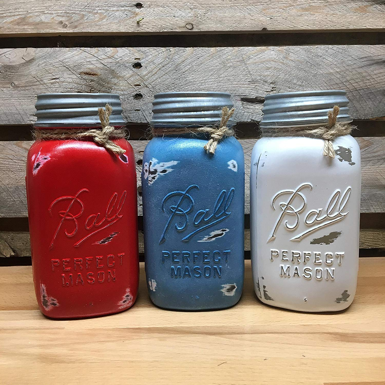White, Red, and Blue Mason Jar Canister Set, Vintage Ball Perfect Mason Jars, Rustic Farmhouse Decor