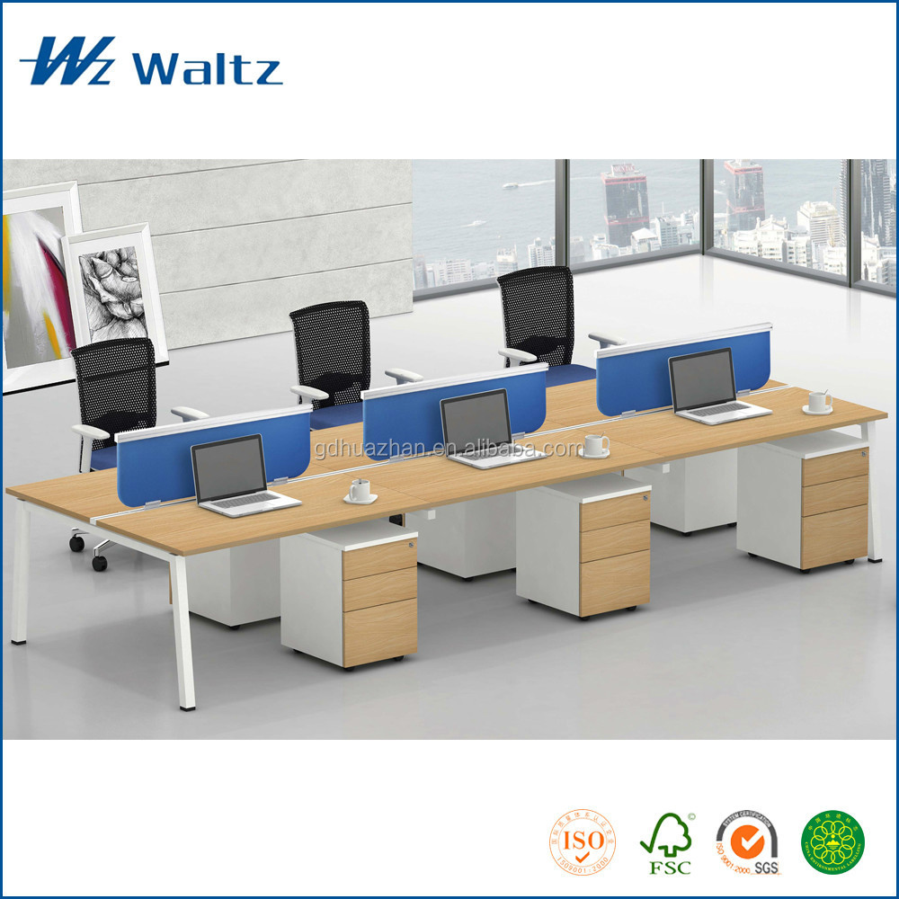 Fashionable Fabric/MFC desktop partition office desk for 6 person