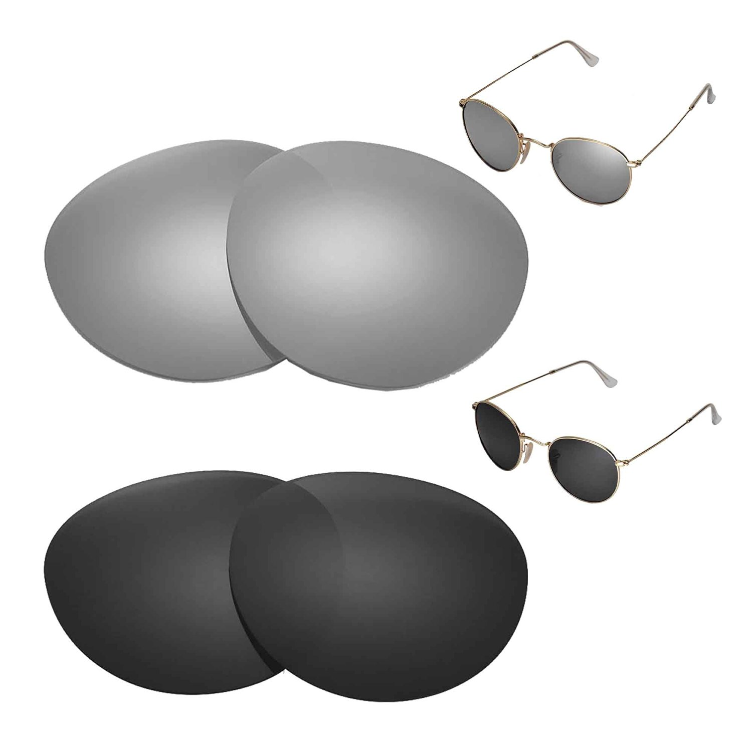 748c19eab5c Walleva Polarized Titanium + Black Replacement Lenses for Ray-Ban Round  Metal RB3447 50mm
