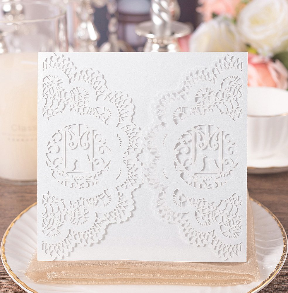 20pcs Elegant Wedding Invitation Cards Cover Laser Cut Love Bird Floral Lace Invitation Template Cardstock for Bridal Baby Shower Engagement Birthday Party Graduation