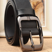 2013 genuine leather brand belt second layer of cowskin good quality pin buckle black business trouser belts for men