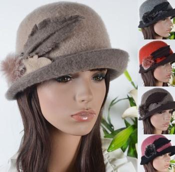 Women s Dress Cloche Bucket Wool Leaf Shape Roll Brim Winter Hat ... 8658ffb97d